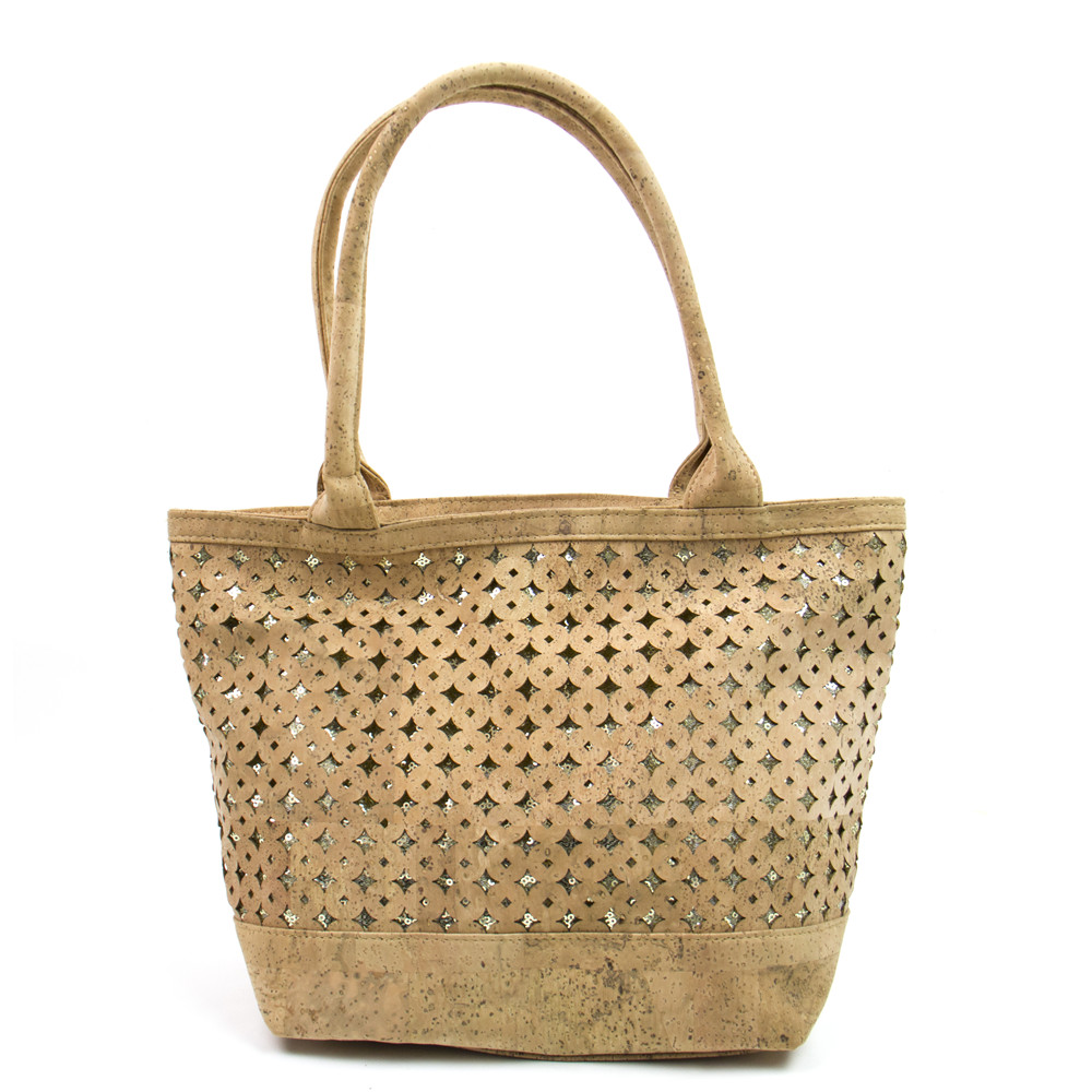 все цены на Natural cork fabric bags women cork body cross vegan Cork handbag with sequins Bag-260-B онлайн