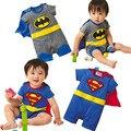 Nuevos niños de disfraces de Halloween traje Del Bebé Superman Batman de Manga Larga Delantal Infantil Del Mameluco Del Muchacho de la Muchacha Que Arropan Sistemas