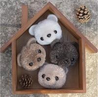 Cute Bear Pompom Felt Kit With Keychain Animail Woolen Thread Set Wool Needlepoint Felt Needle Felting