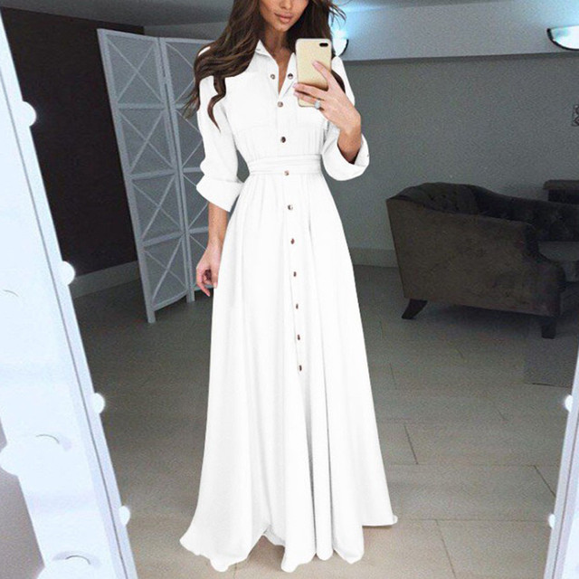 Lovely button down dress, cuff sleeve, floor length 2