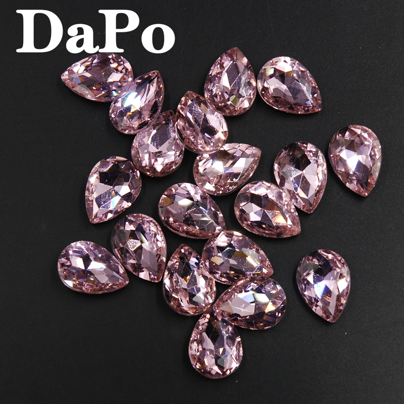 Droplet Shape Teardrop Gule on Rhinestones Light Pink Color Glass Crystal  Point Back Stone For Jewelry Shoes DIY 4x6mm~20x30mm-in Rhinestones from  Home ... d58ffa4837b7