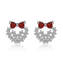 High quality fashion bowknot shiny crystal female earrings 925 sterling silver ladies`stud earrings women birthday gift silver earrings fashion bowknot shiny zircon 925 sterling silver ladies stud earrings women birthday gift wholesale female