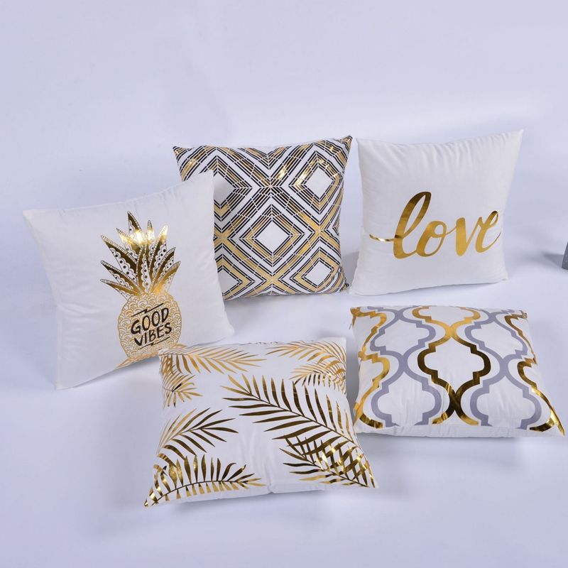 Bronzing Cushion Cover Geometric Gold Pineapple Leaves Printed Pillow Covers Office Chair Sofa Car Seat Home Decor Throw Pillows ...