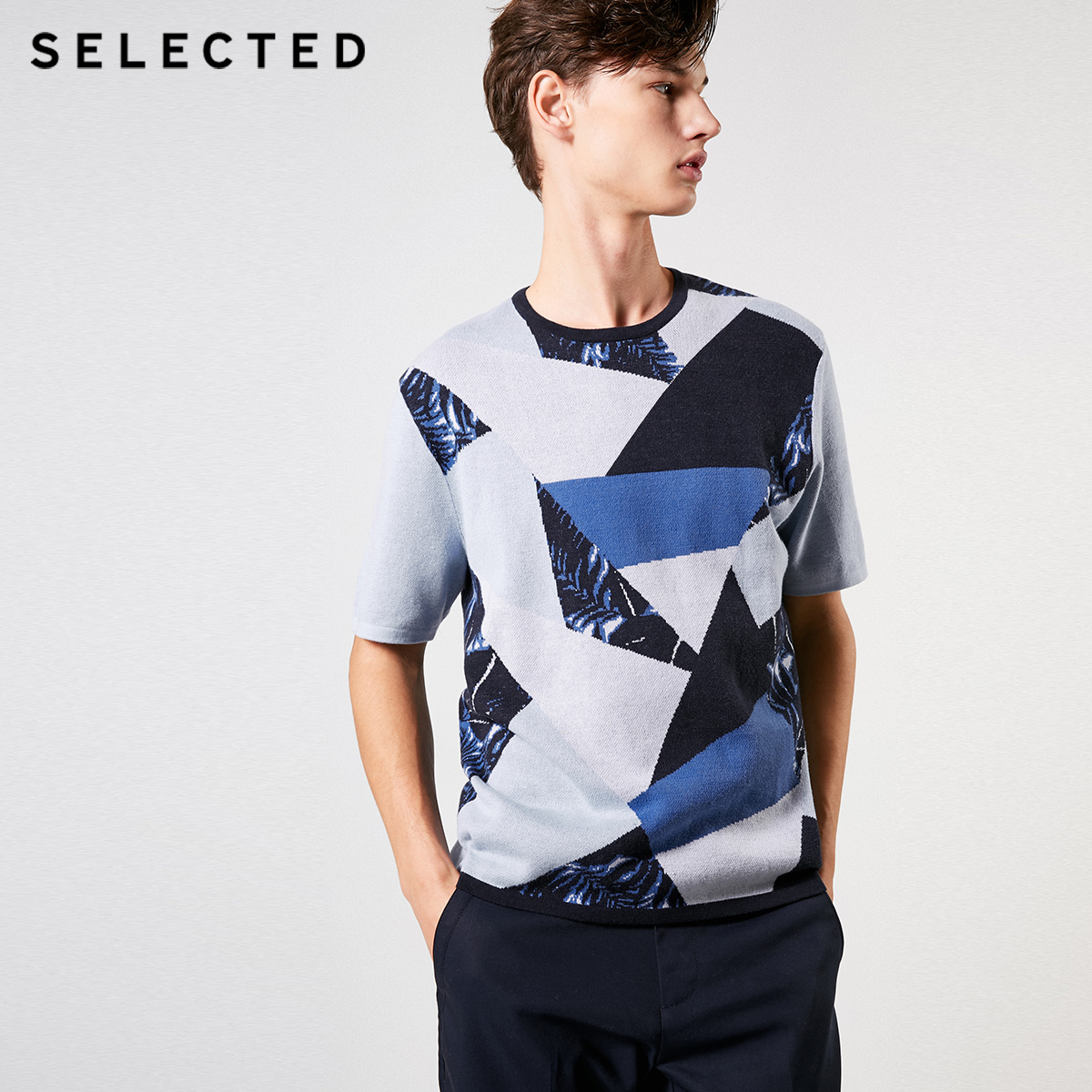 SELECTED Knitted Sweater Short-Sleeved Men's 100%Cotton S-419124501 Geometry Assorted-Colors