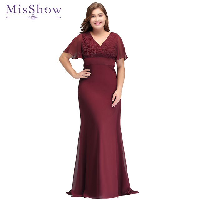 62856695570 Sexy long Plus size evening dress Special Occasion 2018 Bat Sleeve Formal  Gown Elegant Burgundy Chiffon Dresses-in Evening Dresses from Weddings    Events on ...