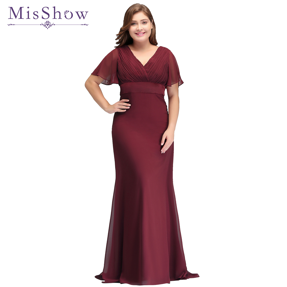 In Stock fast ! Sexy long Plus size   evening     dress   Special Occasion 2018 Bat Sleeve Formal Gown Elegant Burgundy Chiffon   Dresses