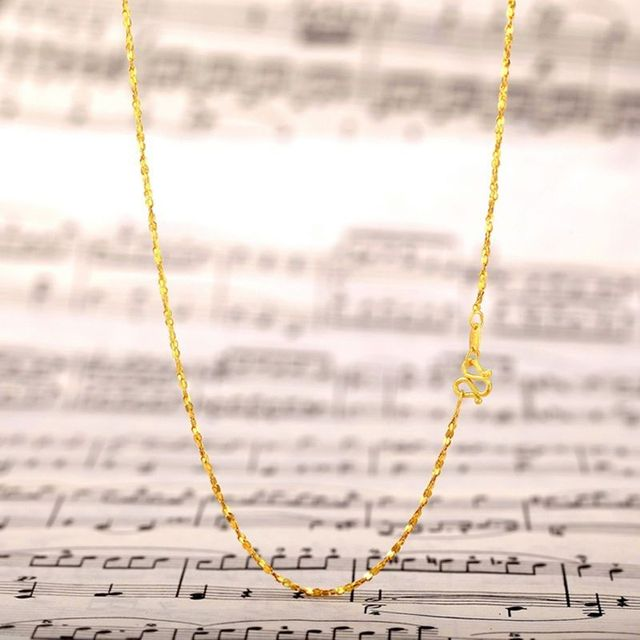 Authentic 24K 999 Yellow Gold Full Necklace For Women Female Best Gift Lover Party Wedding Necklace New 2.5-3g Hot Fashion 3