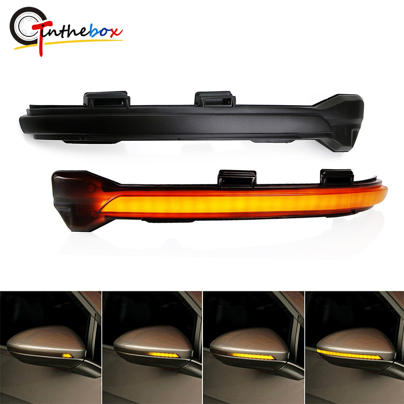 Gtinthebox Smoked Lens Side Mirror Dynamic Sequential Blink Turn Signal Light Assemblies For 2015-up Volkswagen Golf GTI MK7 VII