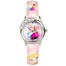 Disney бренда детская наручные часы Девушки мультфильм Замороженные Принцесса Edsa Принцесса Анна 30 м водонепроницаемый кварцевые часы Кожа Алмазов
