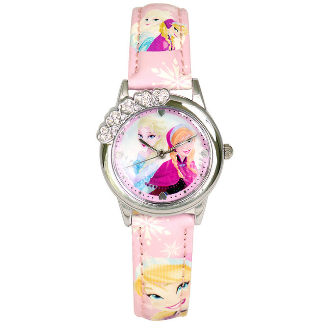 Disney brands children's wristwatche Girls cartoon Frozen waterproof fashion quartz girl watches Leather relogio clocks student