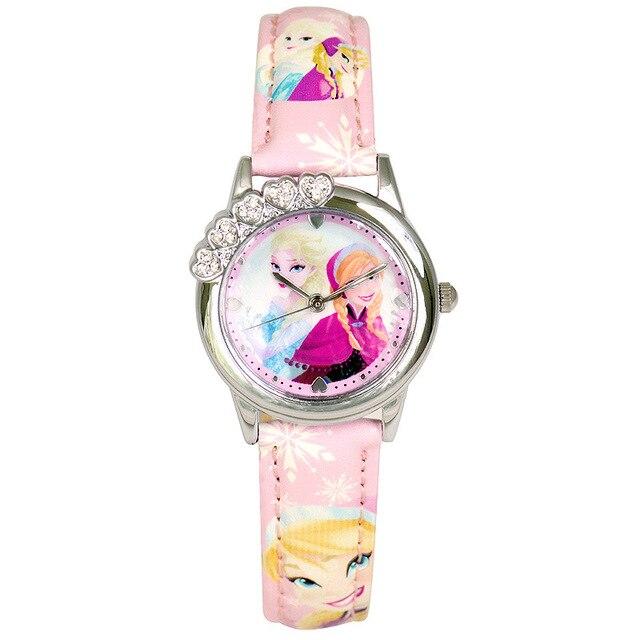 Disney brands children's wristwatche Girls cartoon Frozen waterproof fashion quartz girl watches Leather relogio clocks student
