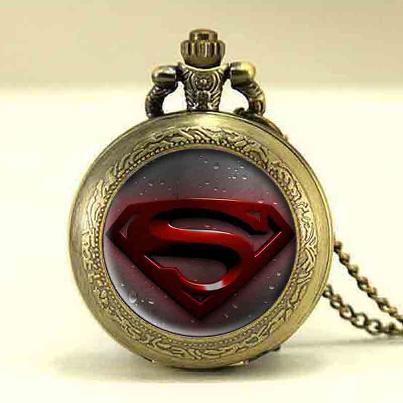 USA Hero Hot Sale Superman Design Pocket Watch Chain with Necklace Quartz Watches Mens Gift Free