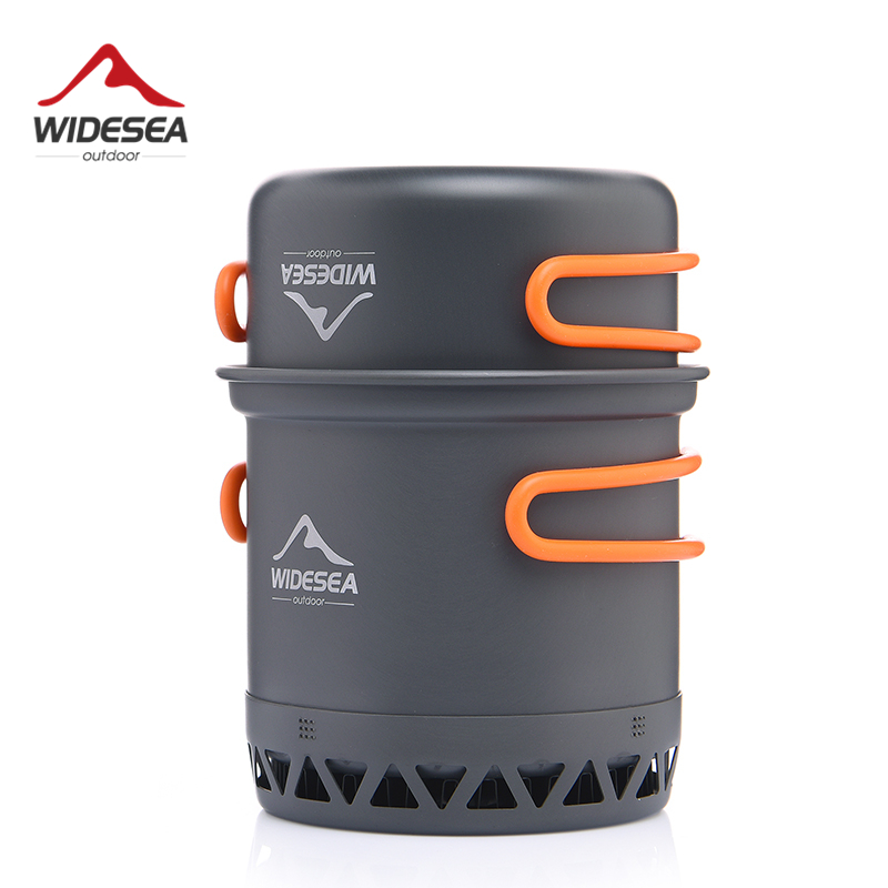 Widesea Camping Cookware Outdoor Cooking Set Heat Exchange Cooker Travel Tableware Tourist Kitchen Camping Pot Utensil Equipment