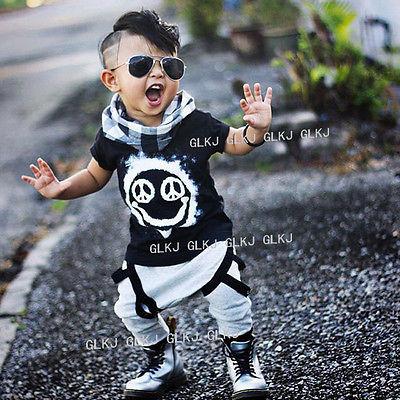 1eb5de5eb28 Newborn Toddler Infant Kids Baby Boy children clothing Cool Short Sleeve T- shirt Tops+ Harem Pants Outfits Set