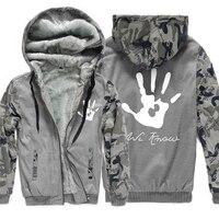 2019 Winter Fleece Thick Hoodies Men Print Skyrim Dark Brotherhood Hand Sweatshirt For Male Camouflage Hoody Brand Tracksuits