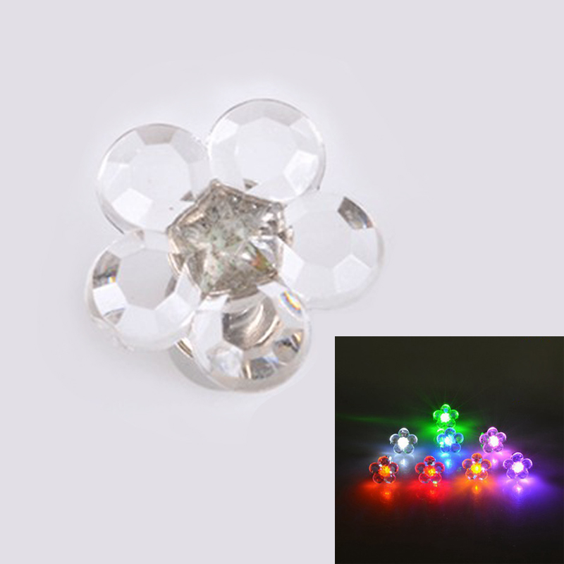 1 Pair Flower Shape Multicolor Charm Led Light Up Crown Glowing Crystal Stainless Stud Earring Jewelry For Women Christmas Gifts