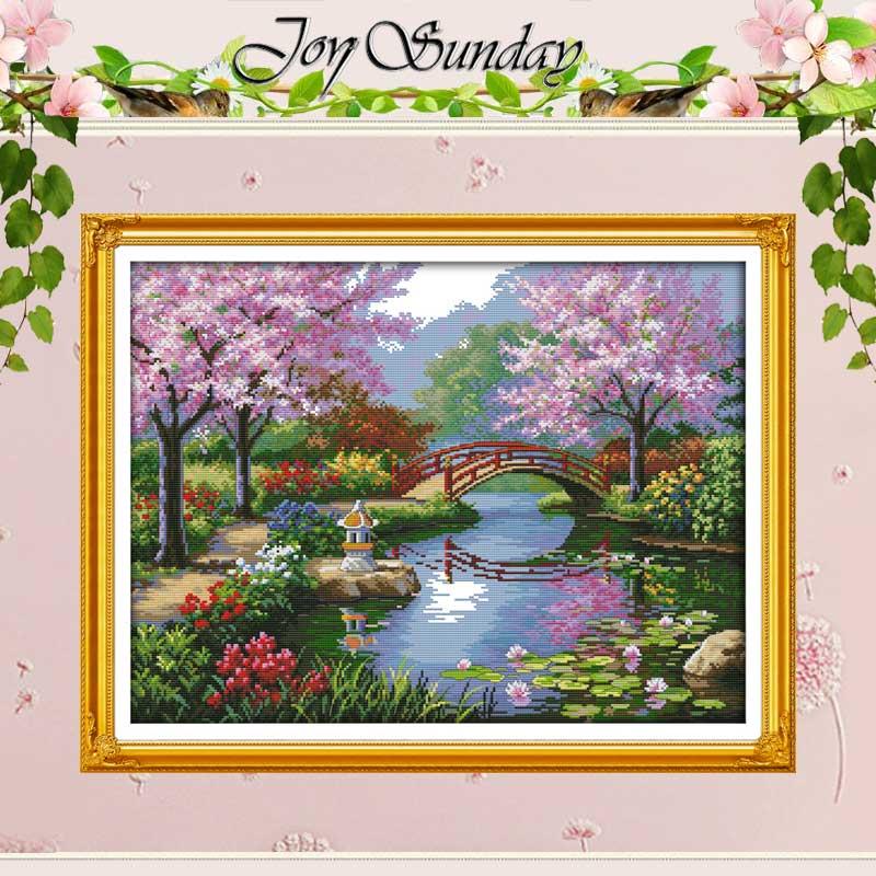 공원 패턴의 아름다운 풍경 십자수 스티치 11CT 14CT 크로스 스티치 키트 자수 홈 장식 바느질 키트