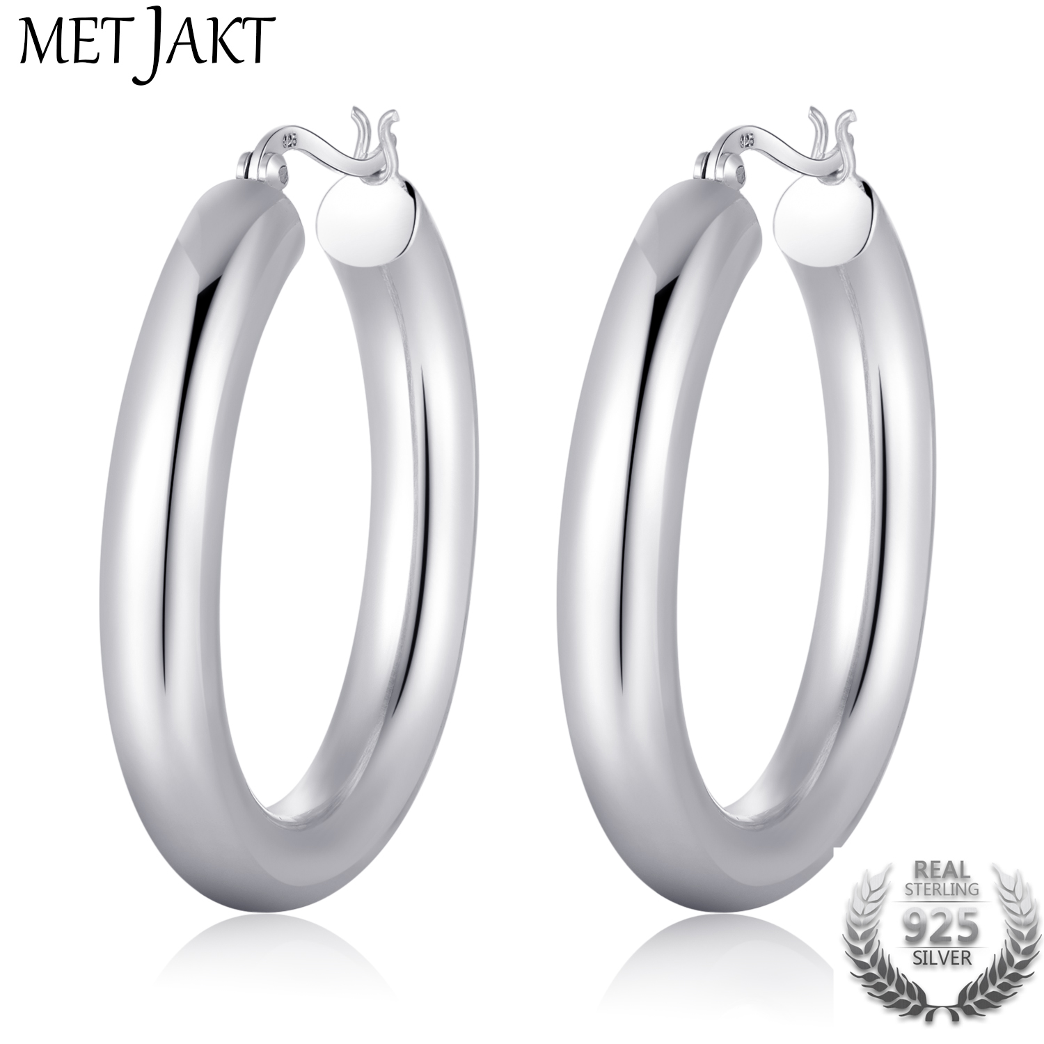 MetJakt Classic Round Real 925 Sterling Silver Hoop Earrings for Women s Retro Ethnic Style Vintage