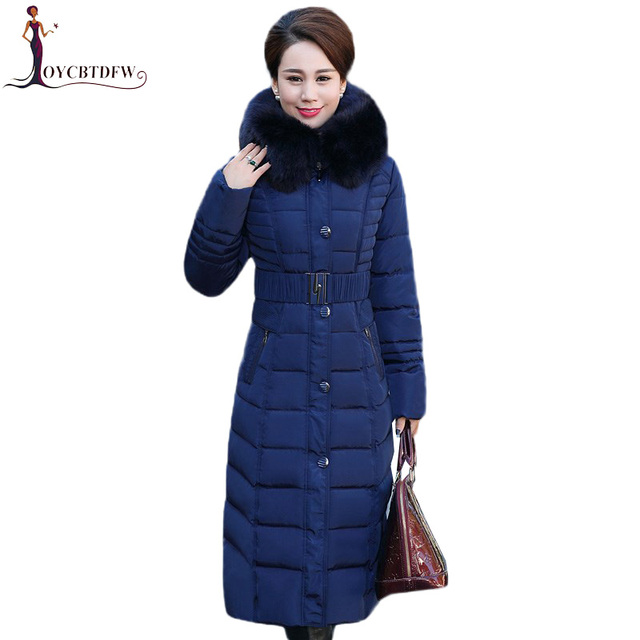 Winter Jacket New middle-aged Long section Cotton Outerwear Thickening Hooded Fur collar Cotton Parkas Large size L-5XL DD280 1
