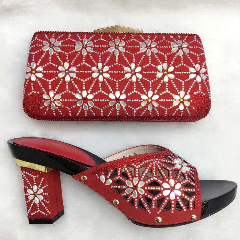 ФОТО Italian Matching Shoe And Bag Set Pumps Stones Sandal High Quality Fashion African Wedding Shoes And Matching Bag Set TT06
