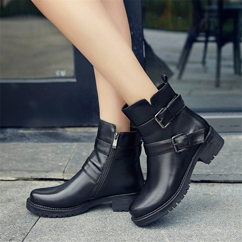 2017 High quality genuine leather Zipper buckle Med thick heel ankle boots 2017 fashion women boots martin boots Plus Size 34-43 women spring autumn thick high heel genuine leather pointed toe side zipper buckle fashion ankle martin boots sxq0806