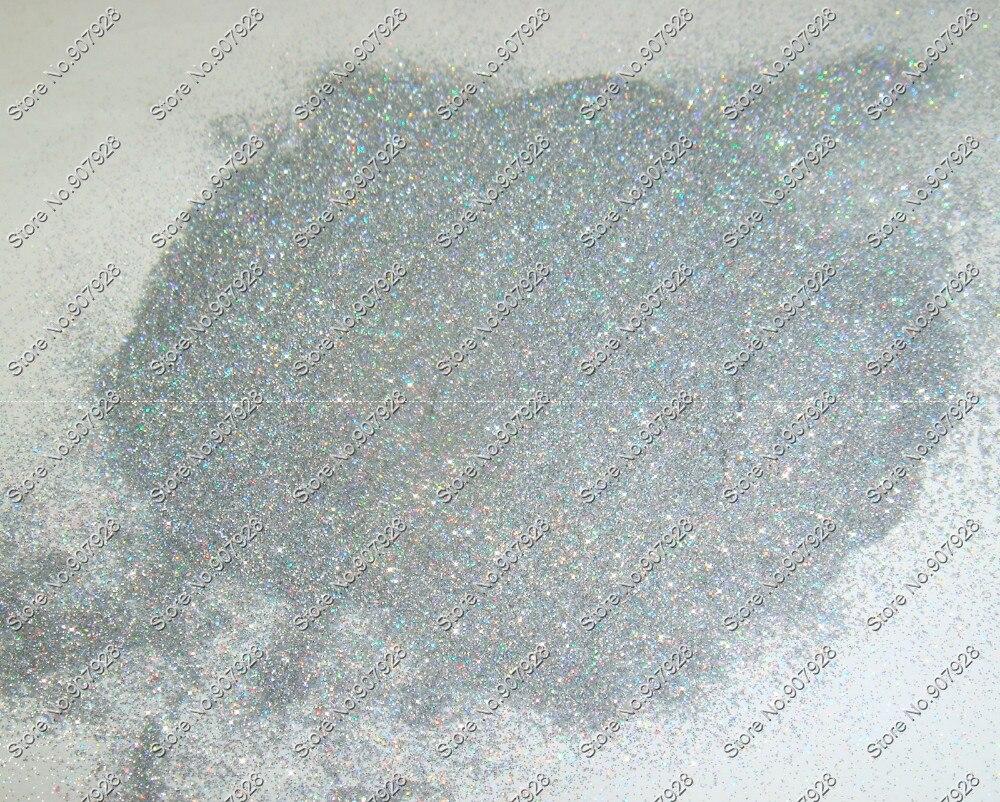 """0,05 мм(1/50"""") 002 дюймов голографический лазер серебро Сияющие косметические блестки Пыль порошок для ногтей искусство украшения и блестки для рукоделия и татуировки"""