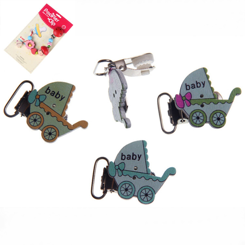 5Pcs Mixed Stroller Pattern Handmade Wood Baby Pacifier Clip Wood Metal Holders Infant jewelry findings & components Diy