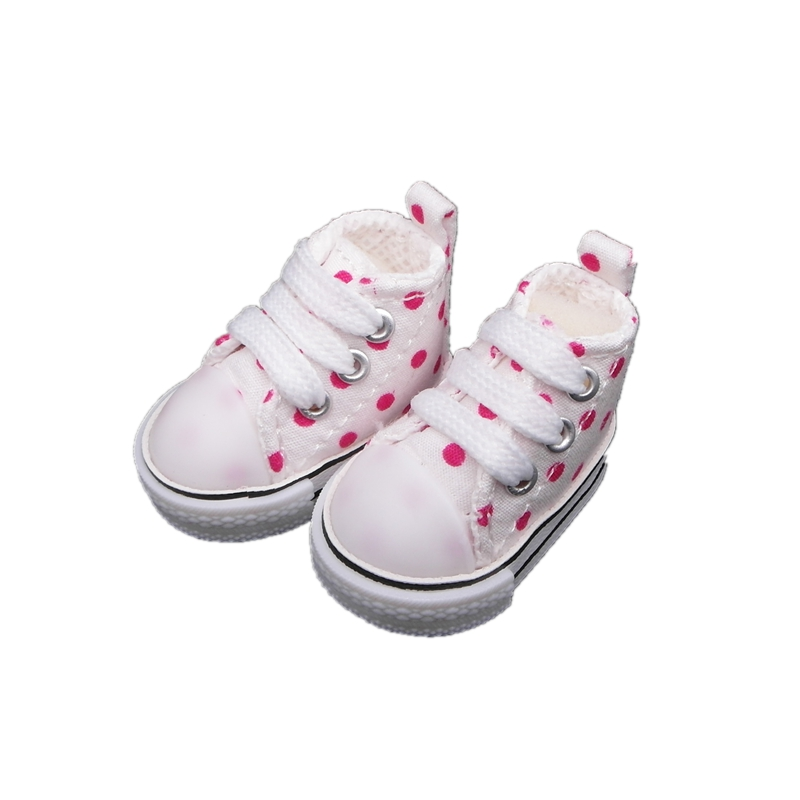 5cm Polka Dot Canvas Doll Shoes For BJD,Mini Textile Doll Boots 1/4 Sneakers Shoes with Points for Handmade Tilda Dolls,5 pairs 5cm pu leather doll princess shoes for bjd dolls lace canvas mini toy shoes1 6 bjd snickers for russian doll accessories