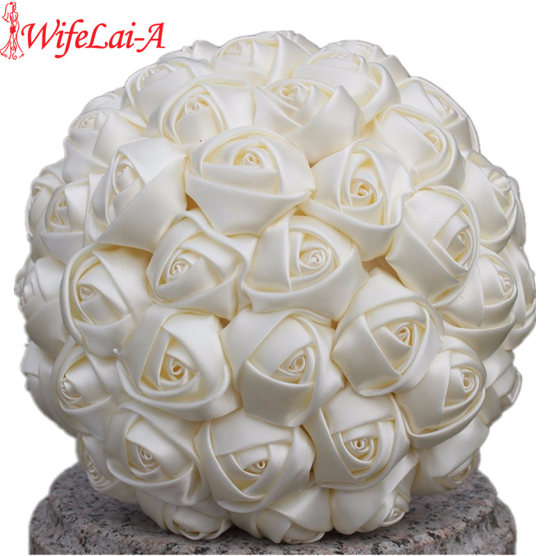 WifeLai-A 1Piece Simple Cream Ivory Silk Bridal Bouquets Artificial Flowers Bridesmaid/Bride Bouquet Decoration Customized W223