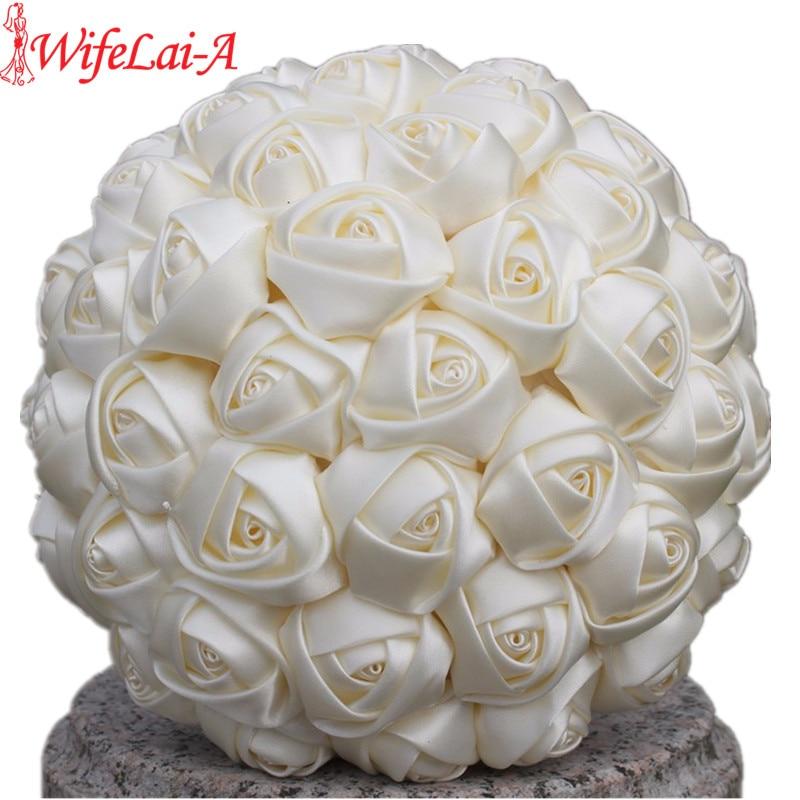 WifeLai-A 1Piece Simple Cream Ivory Silk Bridal Bouquets Artificial Flowers Bridesmaid/Bride Bouquet Decoration Customized W223