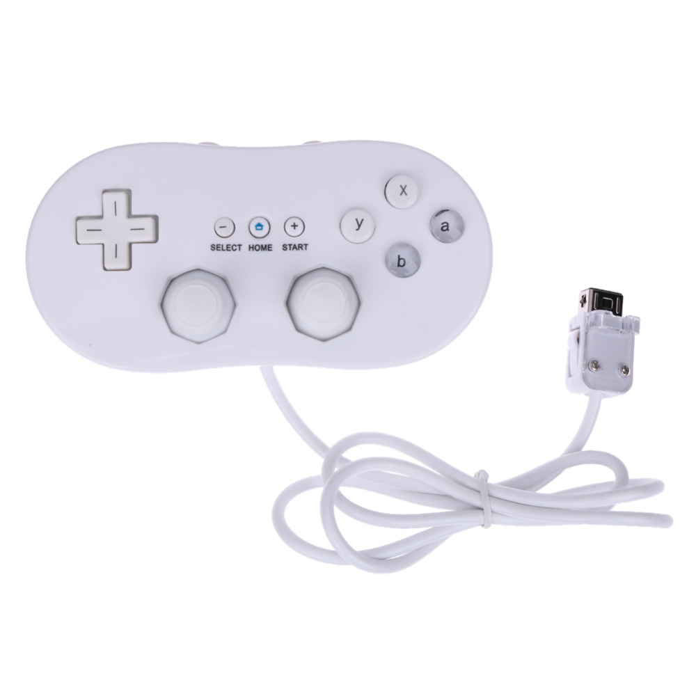White Pro font b Game b font Control Wired Classic Controller Gamepad for Nintendo Wii Remote
