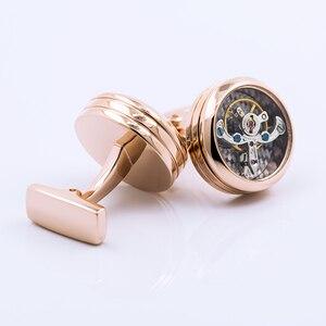 Image 5 - KFLK joyería de moda marca de camisas gemelos de oro rosa movimiento mancuerna de lujo boda botón masculino de alta calidad invitados