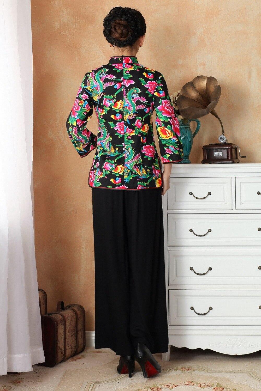 Nueva Cuartos azul Tres Tamaño 3xl Del M 2362 Lino De 3 Negro Femenino Blusa rojo Camisa Tradicional Algodón Estilo Chino Llegada Traje A Tops qr6BS