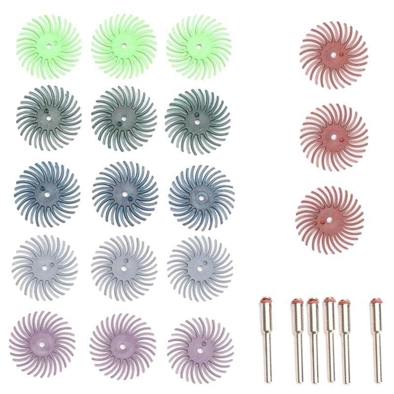 18Pcs 1Inch Radial Bristle Disc Brush + 6 Mandrel Rotary Adapter Shank:3Mm
