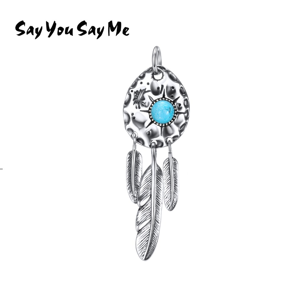 Say You Say Me 925 Sterling Silver Indian Feathers Pendants Wholesale Blue Turquoise Necklaces Bohemia 2018 New Arrival Gifts кольца кулинарные metaltex 20 45 22