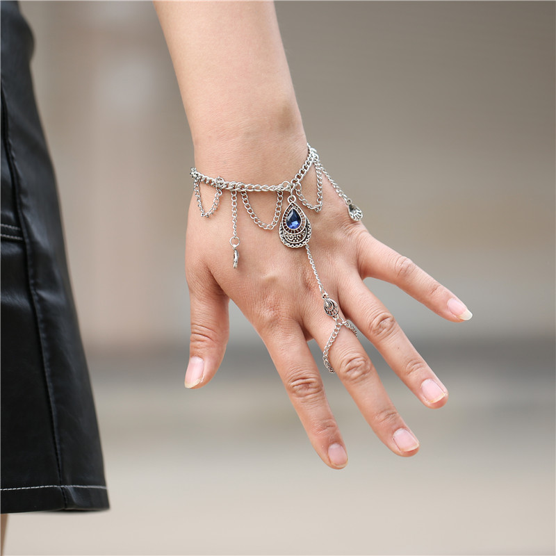 Charming Water Drop Blue Crystal <font><b>Bracelet</b></font> & Bangle For Women Girls Link Chain <font><b>Ring</b></font> <font><b>Bracelets</b></font> Statement Jewelry Wholesale image