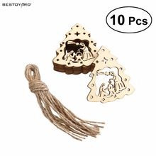 10pcs Wooden Embellishments Christmas Decoration The Birth of Jesus Pattern Pendant with Hemp Ropes(China)