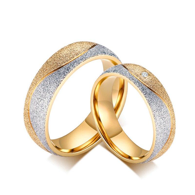 Hochzeits- & Verlobungs-schmuck Boako Paar Hochzeit Ringe Für Frauen Männer Sand Gestrahlt Gold-farbe Edelstahl Engagement Ring Cz Schmuck Anillos Größe 5-13 Online Shop Schmuck & Zubehör