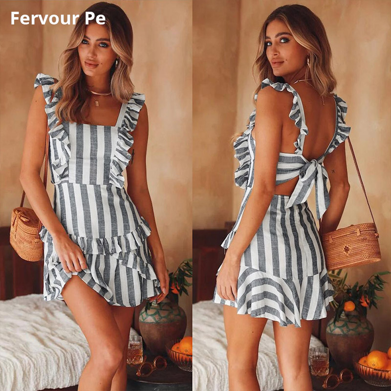 Dresses Womens Clothing Temperament Office Lady Sexy Hanging Stripe Bandage Backless Dress P19068