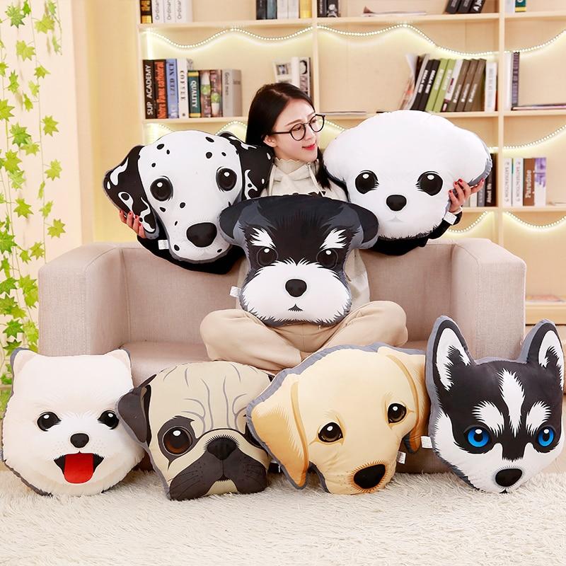 Creative Personality  3D Dog Huskies Plush Toys Home Furnishing Cushion And Pillow Hand Warmer Doll Girl Gift