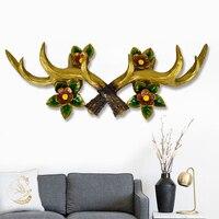 Strong Deer Antler Hook Rack Hanger Home Decorative Wall Statue Sculpture