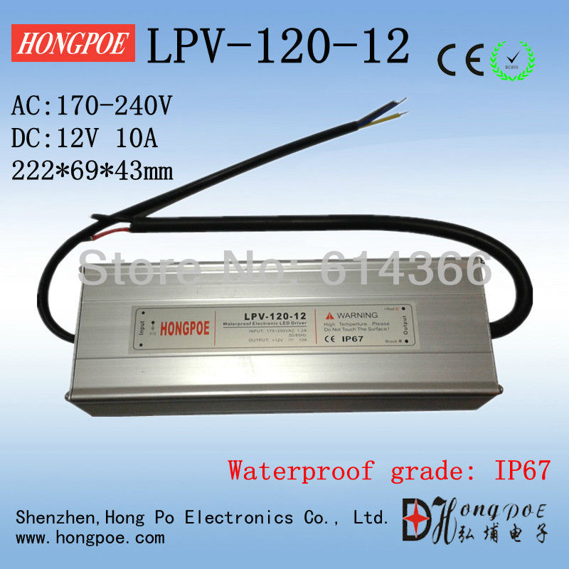 IP67 12V 10A 120W AC230V Input Electronic Waterproof Led Power Supply/ Led Adapter 12V 120W LPV-120-12 120w 55 led blue