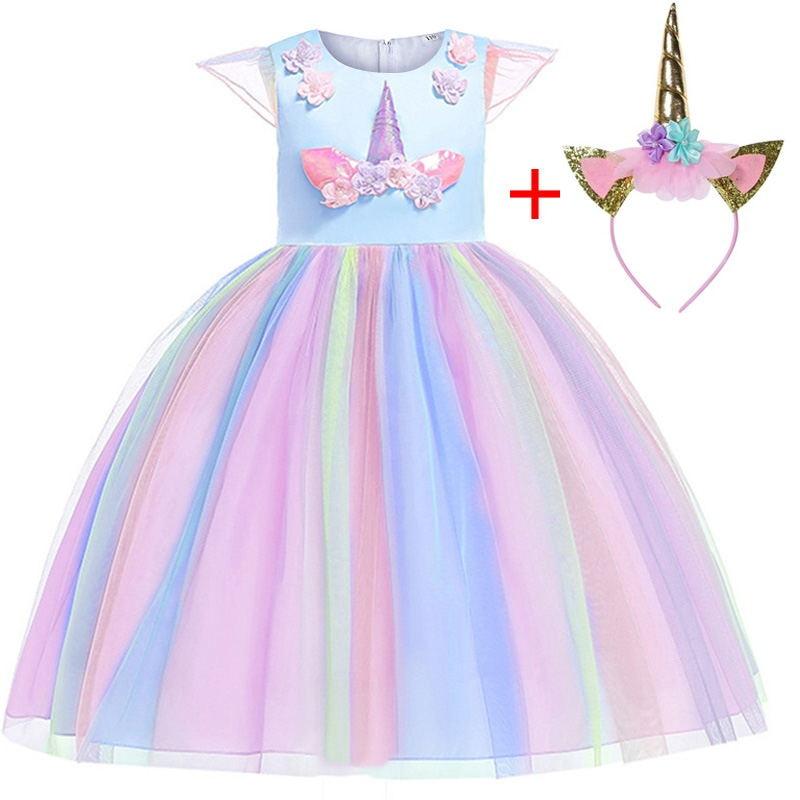 New Girl Tutu Rainbow Unicorn Dress Princess Children's Girl Halloween Party Dress Halloween Costume Children's Clothing