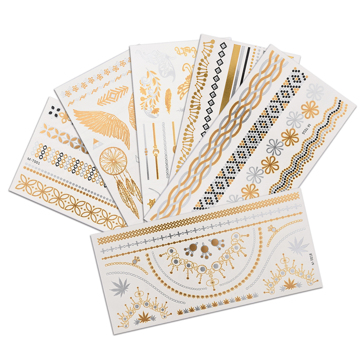21*10cm Temporary Tatoo Waterproof Fake Tattoo Gold Silver Color Egypt Style Striped Wing Tattoo Sticker Body Skin Tatto