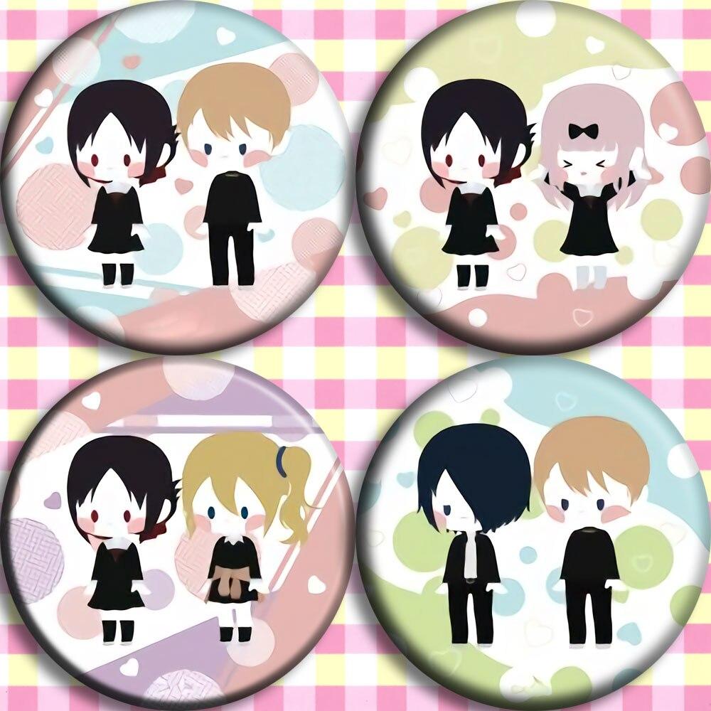 4 Types Children Gift Anime Shinomiya Kaguya Fujiwara Chika Shirogane Miyuki Cosplay Prop Circle Brooch Cute Badge Girl Emblem