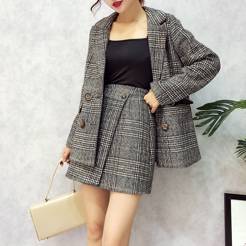 2017 Fall Women Fashion Plaid Suit Clothing Set Office Ladies Long Sleeved Lapel Loose Coat High