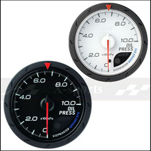 oil pressure gauge universal car instrument 2.5 Inch 60mm OIL PRESS gauge White + red light color Free shipping