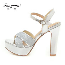 Fanyuan Ankle strap Gold Summer Sandals women high heel Platform Rubber Block Heels ladies Party Wedding Glitter