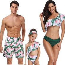 beach family swimwear leaf print ruffled mother daughter bikini swimsuits father son swimming trunks mommy daddy and me clothes