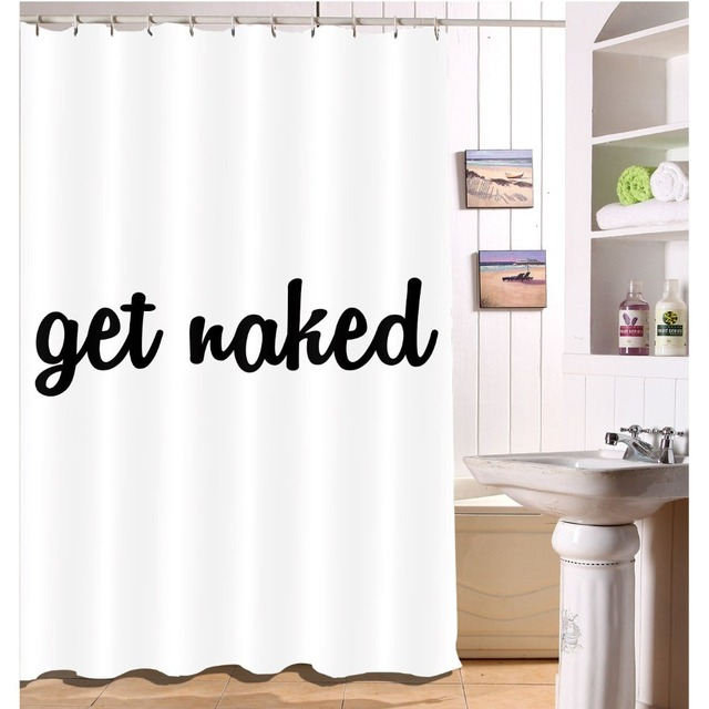 Funny Get Naked Letters Shower Curtain Liner Bathroom Waterproof Black And White Extra Long Polyester Fabric For Bathtub Decor
